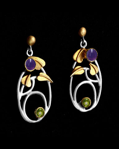 Mackintosh Willowwood Silver, Iolite and Peridot Earrings
