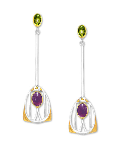 Mackintosh Gesso Inspirations Silver, Garnet, and Peridot Earrings