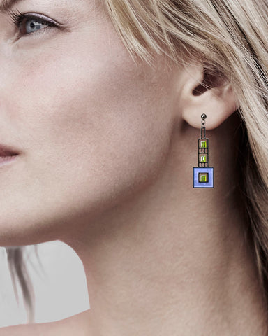 Elmslie Detail Prairie Style Blue Enamel Earrings