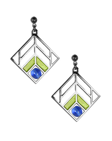 Frank Lloyd Wright Chevron Green Enamel Earrings