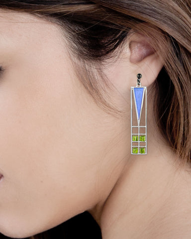 Frank Lloyd Wright Light Screen Blue Enamel Earrings Model