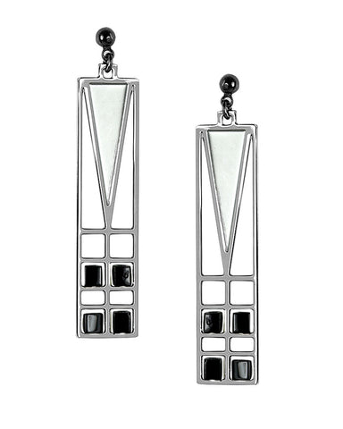 Frank Lloyd Wright Light Screen Chrome Enamel Earrings