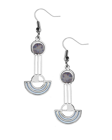 Frank Lloyd Wright Saguaro Forms Giclee Print Earrings - Purple