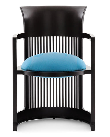 Wright Taliesin Barrel Chair Small by Cassina - Blue Leather Upholstery in Cherry Black Wood