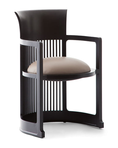 Wright Taliesin Barrel Chair Small by Cassina - White Leather Upholstery in Cherry Black Wood