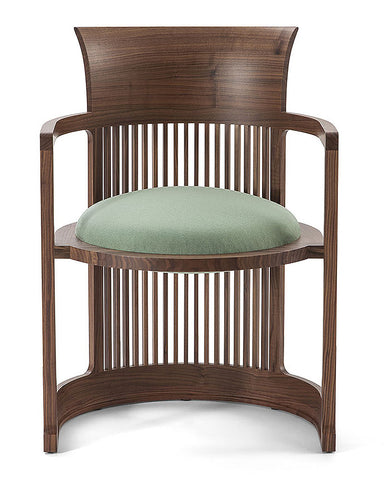 Frank Lloyd Wright Taliesin Barrel Chair Large by Cassina - Green Leather Upholstery in Cherry Walnut Wood