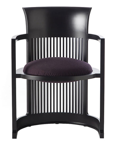 Wright Taliesin Barrel Chair Small by Cassina - Purple Leather Upholstery in Cherry Black Wood