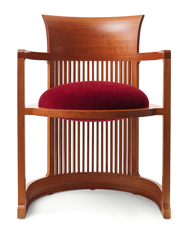 Frank Lloyd Wright Taliesin Barrel Chair Large by Cassina - Red fabric upholstery