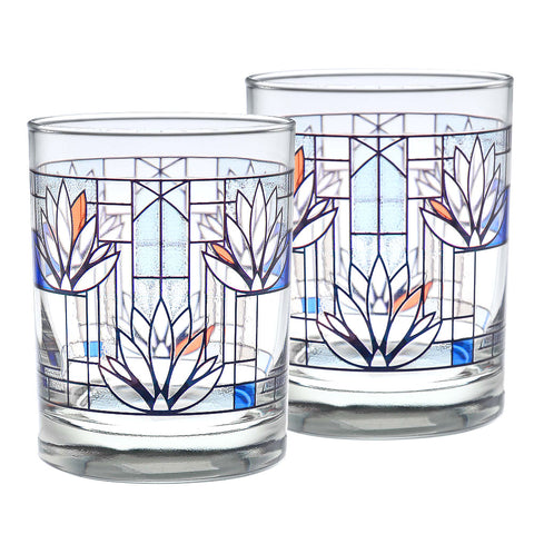 Frank Lloyd Wright Waterlilies DOF Glasses (Set of 2)