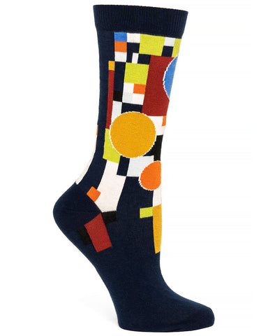 Frank Lloyd Wright Women's Socks Coonley Playhouse - Navy
