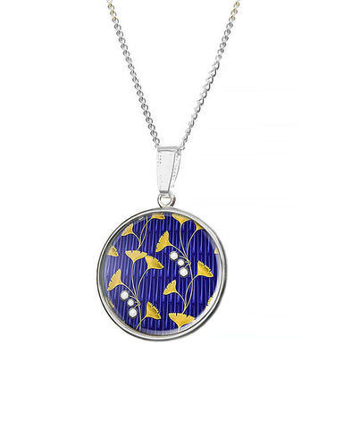 Ginkgo Leaf Fabergé Design Pendant Necklace