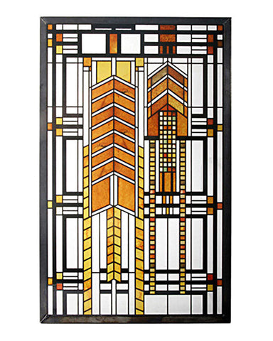 FLW Autumn Sumac Stained Glass Inset