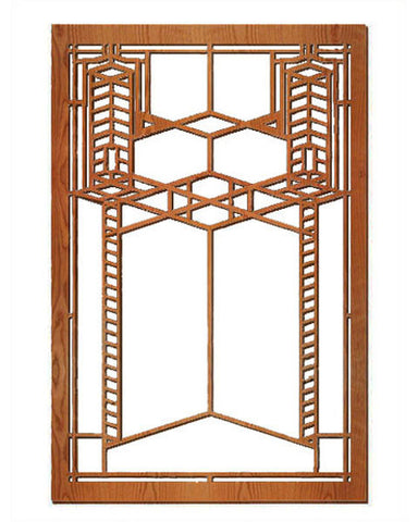 FLW Double Robie Glass Wood Wall Panel