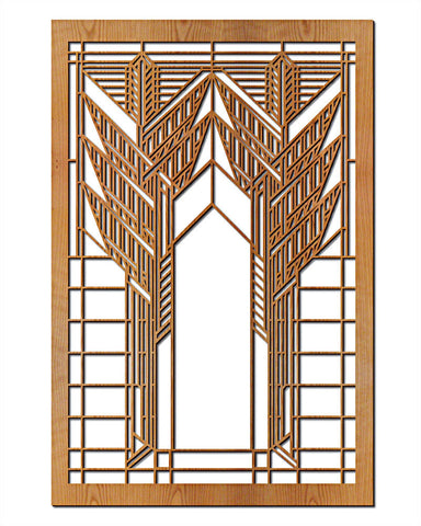 FLW Double Dana Sumac Wood Wall Panel