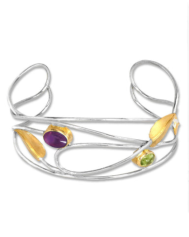 Mackintosh Willowwood Silver, Iolite and Peridot Cuff Bracelet