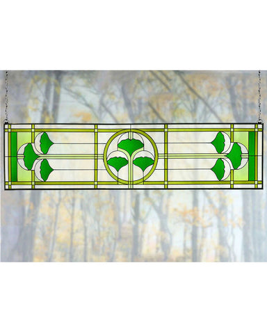 Arts and Crafts Ginkgo Art Glass Transom Panel