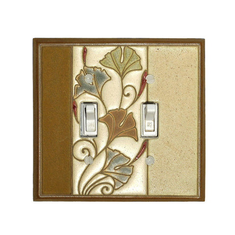 Art Nouveau Ginkgo Ceramic Tile Switchplate Double Toggle