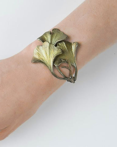 Ginkgo Leaf Bronze Cuff Bracelet model display