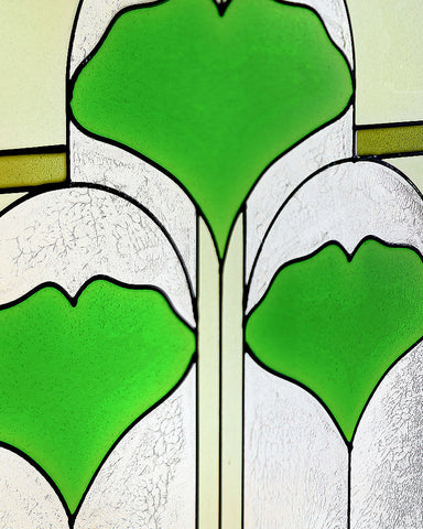 "Ginkgo 42"" Art Glass Panel"