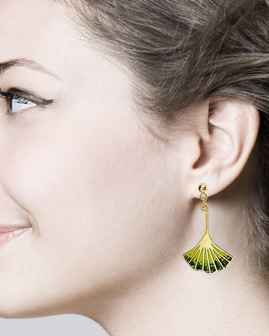 Ginkgo Leaf Earrings - Plated Brass with Enamel Accents