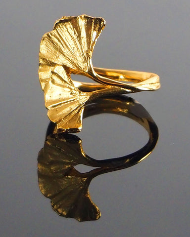 Ginkgo Leaf Ring Gold by Michael Michaud