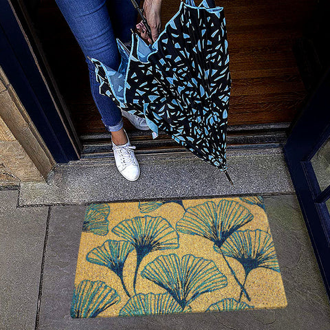 Arts & Crafts Gingko Handwoven Doormat