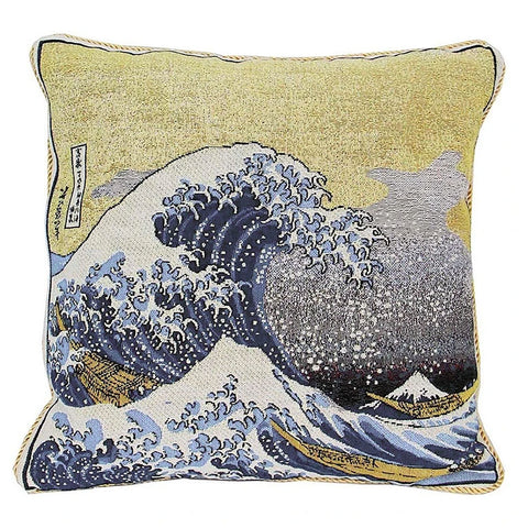 Hokusai Great Wave Tapestry Pillow