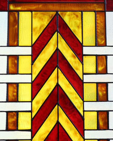 Chevron Art Glass Panel Red Inset