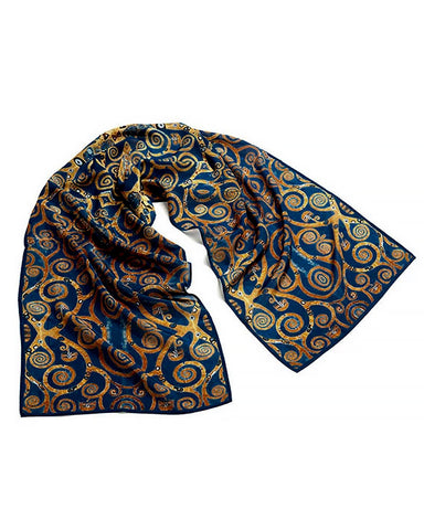 Klimt Tree of Life Crepe de Chine Silk Scarf - Blue