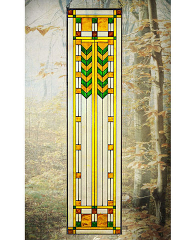 Double Chevron Art Glass Panel Green