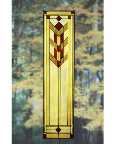 "Arts and Crafts 35.5"" Prairie Flower Art Glass Panel - Red"