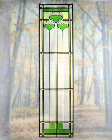 "Arts and Crafts 42"" Ginkgo Art Glass Panel"