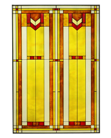 Arts and Crafts Glass Panel Red Inset