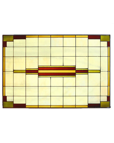 "Arts and Crafts Prairie 20"" x 30"" Art Glass Panel - Horizontal"