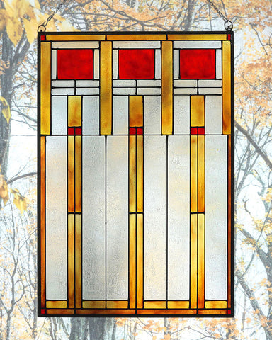 Arts and Crafts Prairie Squares Art Glass Panel Red