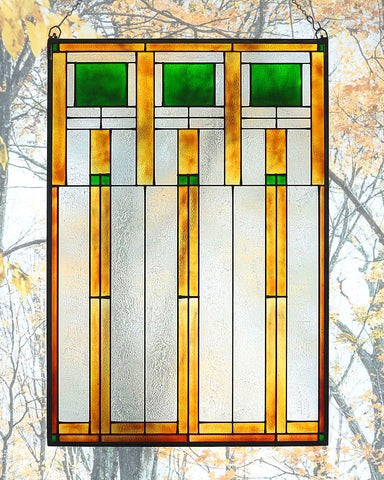 Arts and Crafts Prairie Squares Art Glass Panel Green