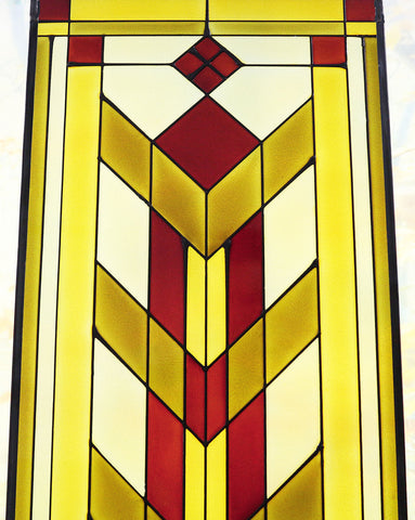 Arts and Crafts Tall Prairie Flower Art Glass Panel