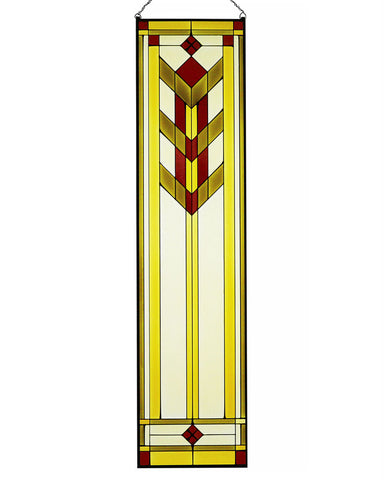 Arts and Crafts Tall Prairie Art Glass Panel Inset