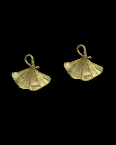 Single Ginkgo Leaf Post Earrings Bronze by Michael Michaud