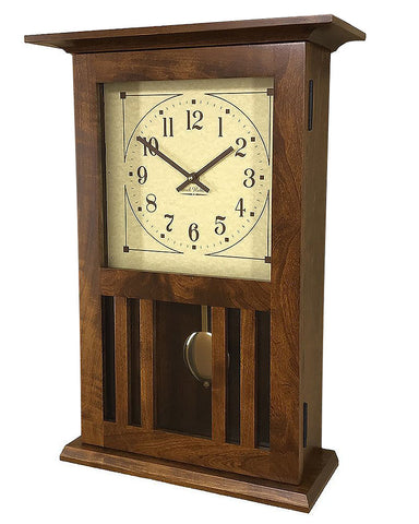 Amish Craftsman Mission Wall Clock - Rustic Cherry