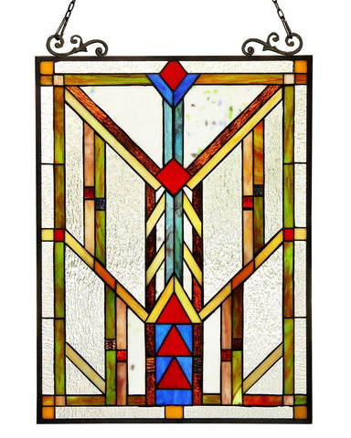 Arts & Crafts Mission Chevron Stained Glass Panel