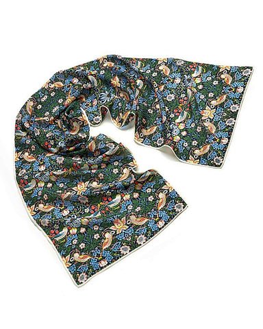 William Morris Strawberry Thief Crepe de Chine Silk Scarf