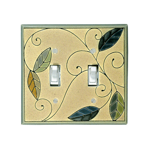 Art Nouveau Mosaic Leaves Ceramic Tile Switchplate - Double Rocker