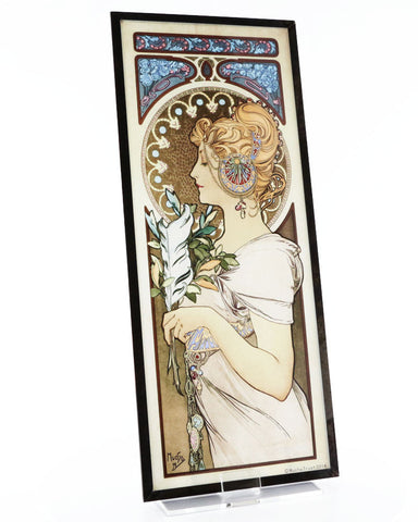 Mucha Feather & Primrose, 1899 Art Glass Panels