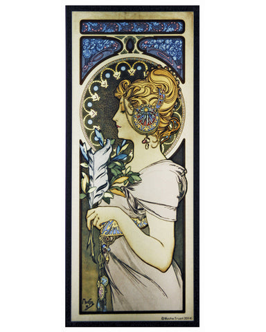 Mucha Set of Three Art Glass Panels