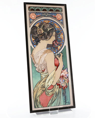 Alphonse Mucha Set of Three Art Glass Panels