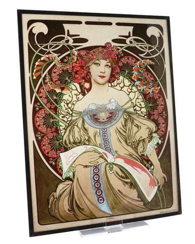 Alphonse Mucha - Reverie, Art Glass Panel (angle)