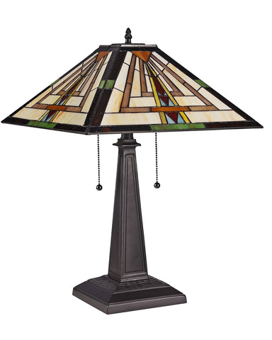 Arts & Crafts Norman Stained Glass Table Lamp
