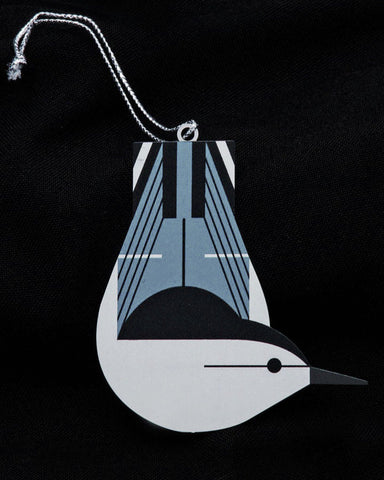 Charley Harper Brass White-Breasted Nuthatch Ornament Adornment