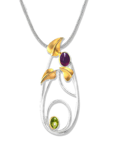 Mackintosh Willowwood Silver, Iolite and Peridot Pendant Necklace